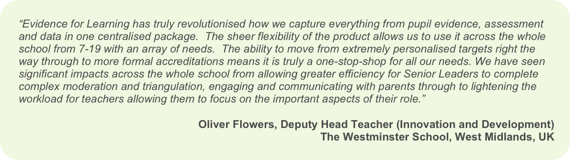 Testimonial from Oliver Flowers, Deputy Headteacher at The Westminster School